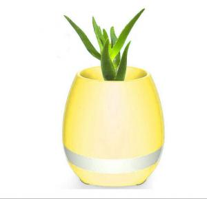 Smart Wireless Bluetooth Speaker Touch Piano Music Playing Flower Pots with Night Light for Office Home Decor - Yellow