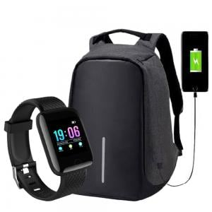 2 in 1 Bundle Pack Anti-Theft Backpack And Smart Watches