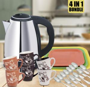 4 In 1 Bundle Electric Kettle 1.8 Litre, Wtrtr Stainless Steel Body 1500 Watts WTR268C + Olympia 6 Pcs Porcelain Coffee Cup Set, OE-1999 + 12 pcs Stainless Steel Dinner spoon sets, LI-1199 + Epsilon 3 Pieces Tray Set - EN3783
