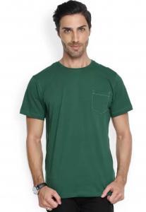 Denvlot Striped Men Round Neck Green T-Shirt