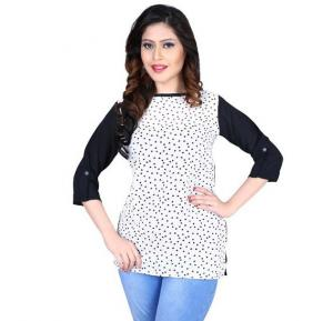 Flawless White Printed Top - 89CL089 - M