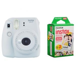 Fujifilm Instax mini 9 Instant Film Camera, Smoky White With 2 Packs of Fujifilm Mini Film 10 X 2