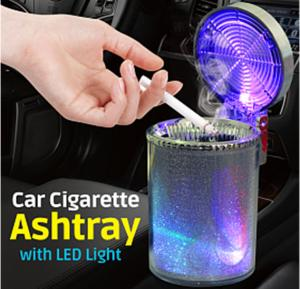 Type-R Cylindrical Car Cigarette Ashtray with LED Light , 025