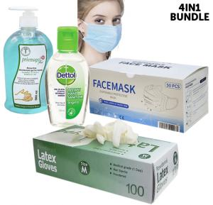 4 in 1 Bundle Kit, Latex Gloves Medium With Dettol Hand Sanitizer,  Priemagel Plus Hand Sanitizer Gel 500 ml and Disposable Face Mask 50 Piece