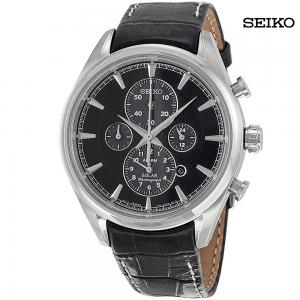 Seiko Men Solar Chronograph Grey Dial Black Leather Watch, SSC211P2