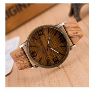 Generic New Design Vintage Wood Grain Watches for Men Women Brown