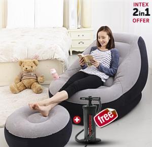 2 In 1 Bundle Intex Air Chair with Footrest & Get Free Intex Manual Air Pump, 68564