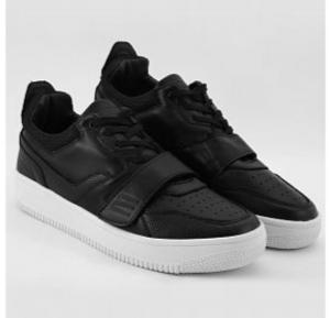 Mokun Velcro & Lace Up Leather Sneakers Black For Men - 20302 - 43