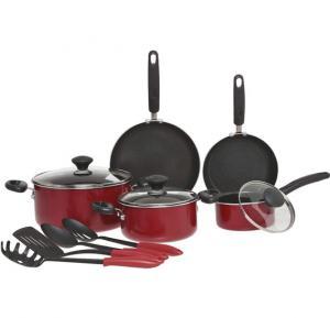 Prestige Aluminum Non-stick Cookware Set of of 12-Piece, Red PR10508