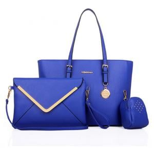 Simple Classic 3pcs Handbags- Blue