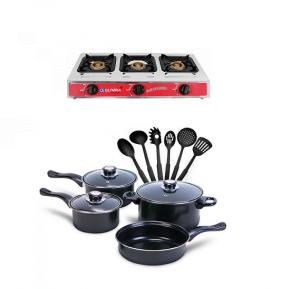 Bundle Olympia  3 Burner Stainless Steel Gas Stove, OE-055 + Royalmark 13 Pcs Non-Stick Cookware Set With Kitchen Tool Set
