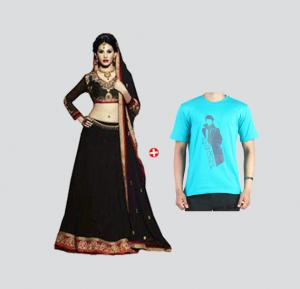 Couple Combo ! Fiona 11117 Georgette With Embroidery Designer Anarkali +Blot SP-108 T-Shirt