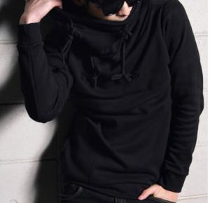 Mens Designer Turtle Hood Black - 4469 - M