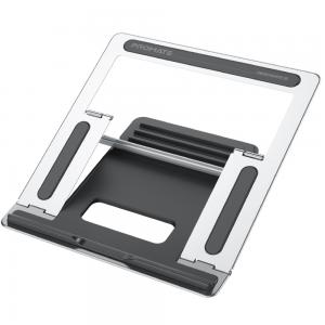 Promate Laptop Stand, Ergonomic Aluminum Multi-Level Notebook Stand up to 17 Inches with Anti-Slip Pads, DeskMate-5 Grey