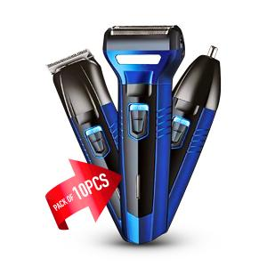 10 Piece Bundle  of Geemy GM Waterproof 3 in 1 Hair Clipper and Trimmer -Assorted GM566