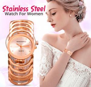 SwissMark Link Design Stainless Steel Analog Watch For Women, Rose Gold, SMWK200