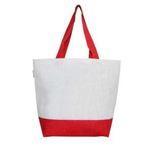Large Unisex Off white & Red Beach Bag Tote bag