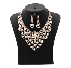 Kavani Pearl Drop Stone Necklace Set