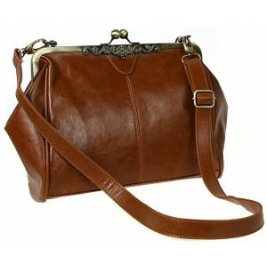 Lady PU Leather Shoulder Messenger Handbag Brown