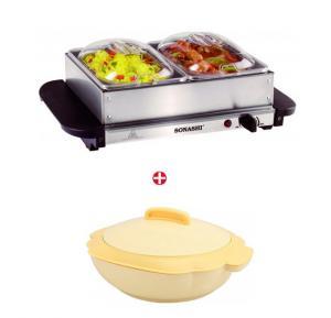 Bundle Offer! Sonashi  2 Tray Buffet Warmer SBW-1002 & Get Sonashi SCR-1500P Single 1500m Casserole FREE