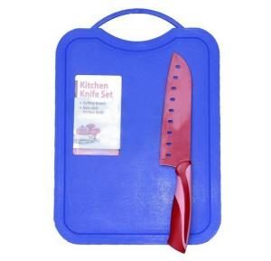 In House Kitchen Knife with Cutting Board- Red