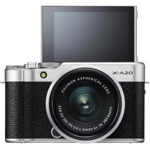 Fujifilm X-A20 Mirrorless Digital Camera Silver With Fujinon XC15-45mm Optical Image Stabilization Power Zoom Lens Kit