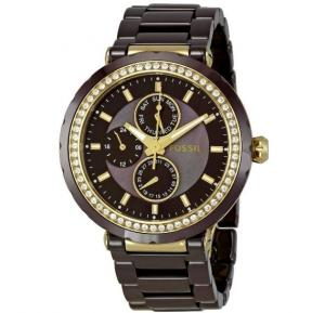 Fossil Brown Dial Ceramic Band Watch For Women - CE1046