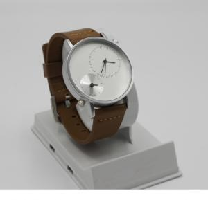 TOMI Unisex Genuine Leather Strap Watch Analog Japanese Quartz T079, White Brown