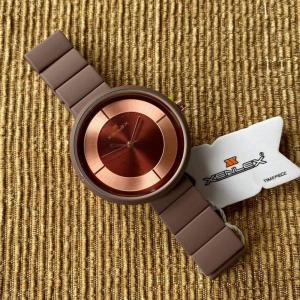 Xenlex Womens Stainless Steel with Rubber Analog Watch, Brown