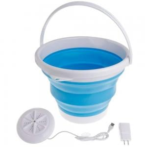 Portable Ultrasonic Turbine Washing Machine with USB Foldable Bucket, White And Blue