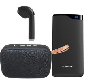 3 IN 1 Smart Pocket Bundle, Ctroniq Vimba S10k Power Bank 10000mah-Black With Trands TR-MSI-O3G Portable Wireless Bluetooth Speaker And X-cell BT-545 Bluetooth Headset - Black