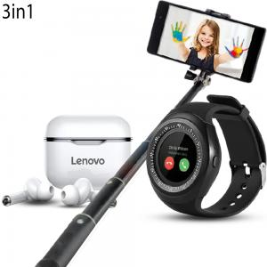 3 In 1 Lenovo LP1 Live Pod Wireless Bluetooth Earphone Zooni Y1 Bluetooth Smart Watches With Micro Sim And TF Card And Selfie Stick for Smartphones