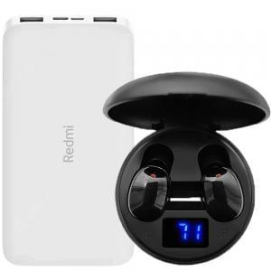 2 in 1 Bundle Pack Realme Wireless EarPhone C021 Black with Redmi 10000 mAh Li-Polymer Power Bank White