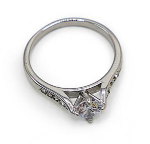 18k Silver Plated Engagement Ring For Women , Italina Rigante