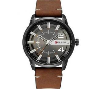 Curren Unique Dial Design Analog Leather Band Watch for Men, 8306, Khaki Black
