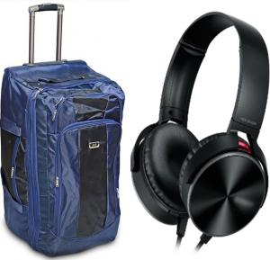 Travel Combo, 30 inch high spacious Travel Trolly Plus Extra Bass Stereo travel Headphone, Alshand