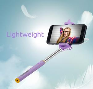 Promate Selfie Stick, Perfectly Foldable Extendable Selfie Stick Pole Wire Monopod with Built-in Remote Shutter for Android and iOS Smartphones, MiniPod-Purple