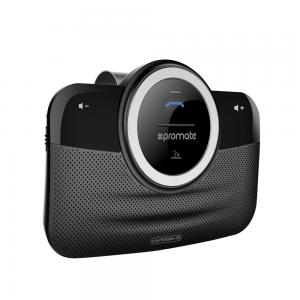 Promate Car Bluetooth Speakerphone Hands Free Bluetooth Car Kit in car Dual Speakerphone with Voice Command Multipoint Pairing and Car Charger, CarMate-8.Black