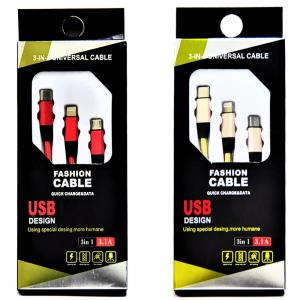 Fashion Cable 3-in-1 Universal Cable - Red and Gold