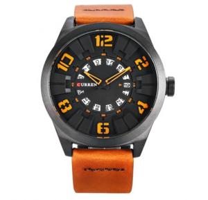 Curren Brown Leather Strap Watch For Men, 8258