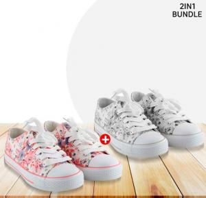 2 Pairs Okko Flower Pattern Girls Sneaker, Grey & Pink size-36