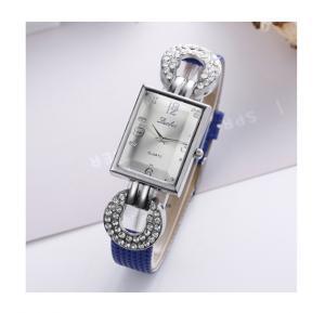 Generic Luobos Quartz Rhinestone Rectangle Dial Casual Wristwatch - Blue