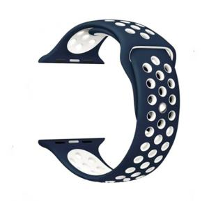Generic Breathable With Holes Sport Watch Band - Blue/White
