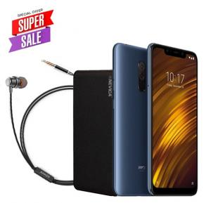 Xiaomi POCOPHONE F1 Dual SIM - 64GB, 6GB RAM, 4G LTE, Blue– International Version With Anker SoundBuds Mono And Nevica Powerbank 10,000 mAh