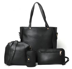 Jingpin Korean Style Fashionable 4 In 1 Tassel Tote Bag for Ladies, Black