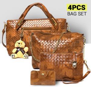 OKKO Ladies Handbag  4 Pieces Set - ACE-13  Brown