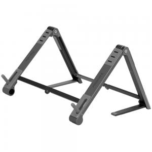 Promate Laptop Stand, Foldable Aluminum Multi-Angle Computer Desk Stand with Adjustable Height, Elevate Black