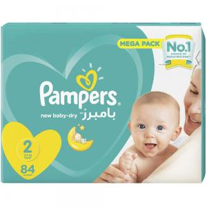 Pampers New Baby-Dry Diapers, Size 2, Small, 3-6kg, Jumbo Pack, 84 Count, 30263