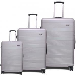 Traveller ABS 4 Wheel Premium Luggage Trolley 3pcs Set, Silver, TR-3300