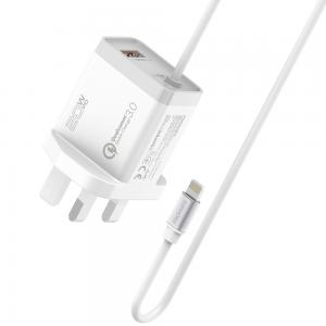 Promate iPhone Charger, Fast Charging 20W Power Delivery Wall Charger with 1.5m Lightning Cable, iCharge-PDQC3-UK-White